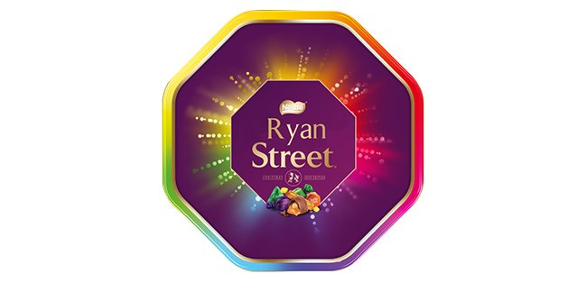 A personalised Quality Street tin