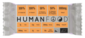 Human Food Orange Bar - Compostable wrapper with new 'Power-Ups' design